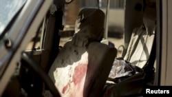 Des traces du sang de l'assassinat du général burundais Athanase Kararuza à Bujumbura le 25 avril 2016.