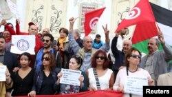 Une manifestation contre des attentats de Paris, à Tunis, Tunisie 16 novembre 2015.