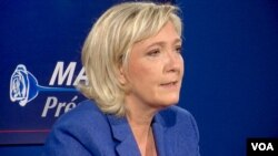 Far-right French presidential candidate Marine Le Pen says she supports U.S. President-elect Donald Trump because his foreign policies appear not to be detrimental to France. To the contrary, she says, issues like his opposition to the EU-U.S. free-trade agreement are positive for France. (L. Bryant/VOA)