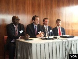 "Control Risks staff (l-r) Patrick Matu, Nick Allan, Daniel Heal, and Paul Gabriel address media during ""RiskMap 2016"" report launch, Feb. 10, 2016 in Nairobi, Kenya. (J. Craig/VOA)"