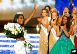 Miss New York Nia Franklin reacts after being named Miss America 2019, Sunday, Sept. 9, 2018, in Atlantic City, N.J.