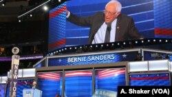 Cựu ứng viên Tổng thống của đảng Dân chủ, Thượng nghị sĩ Bernie Sanders, phát biểu tại đại hội toàn quốc của Đảng Dân chủ ở Philadelphia, 25/7/2016.