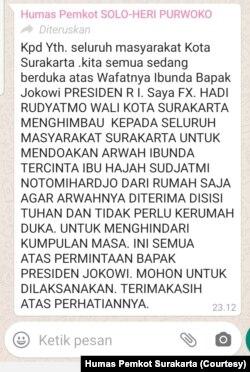 Imbauan Pemkot Solo yang disebarkan untuk masyarakat Kota Solo, Rabu (25/3) malam. (Foto: Humas Pemkot Surakarta)