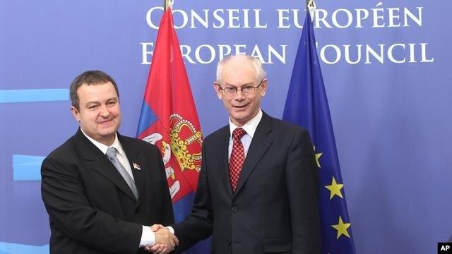 Premijer Srbije Ivica Dačić i predsednik Evropskog saveta Herman Van Rompej.