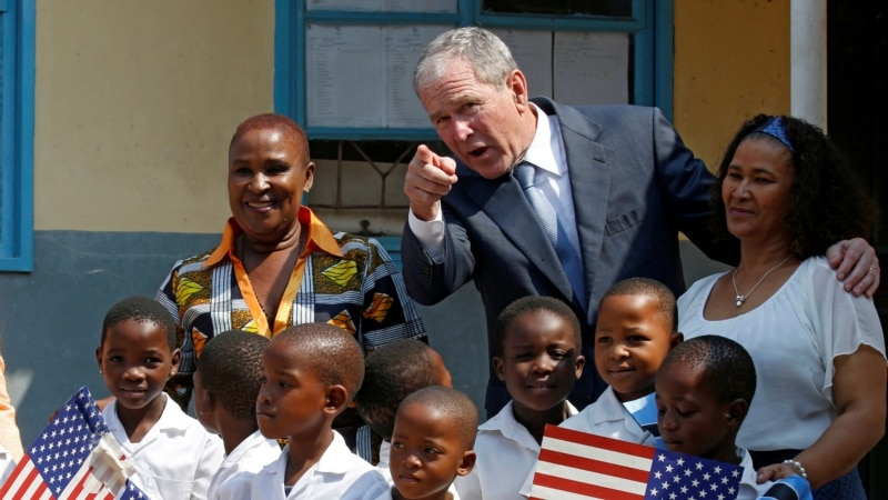 Former US President Bush Touts Signature Africa AIDS Program in Botswana
