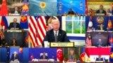 In this image released by Brunei ASEAN Summit, U.S. President Joe Biden speaks at the virtual meeting of ASEAN-East Asia Summit participants held on on the sidelines of the ASEAN summit, Oct. 27, 2021.