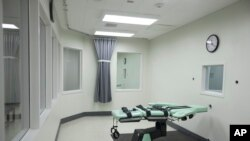 FILE - The death chamber of the new lethal injection facility at San Quentin State Prison in San Quentin, Calif., Sept. 21, 2010.