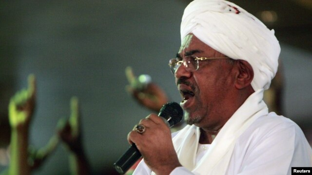 Sudanese President Omar al-Bashir during a rally at the ruling National Congress Party headquarters, Khartoum, April 18, 2012.