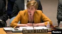 FILE - U.S Ambassador to the U.N. Samantha Power