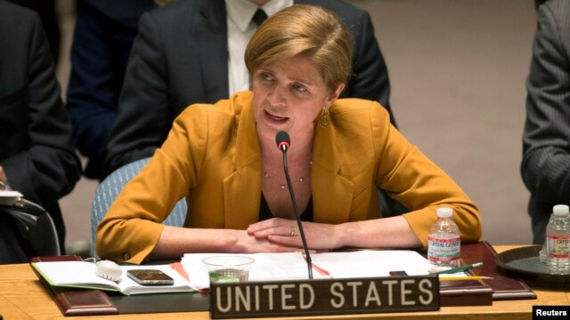 FILE - U..S Ambassador to the U.N. Samantha Power