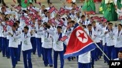 지난 2014년 9월 인천 아시안게임 개막식에서 북한 대표단이 입장하고 있다.