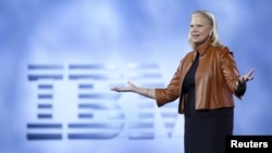 Ginni Rometty, chairman, president and CEO of IBM, speaks during a keynote address at the 2016 CES trade show in Las Vegas, Nevada, Jan. 6, 2016.