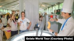 Gianluigi Dellaccio competes at the Gelato World Tour event in Chicago.