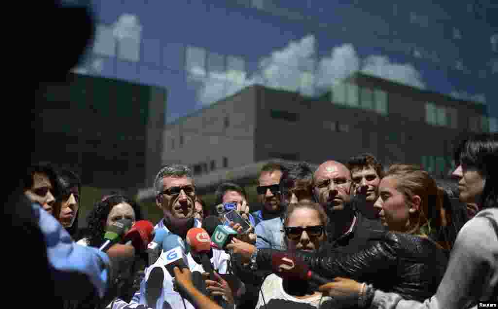 Luis Verde Remeseiro, director of the Hospital Clinico de Santiago de Compostela, talks to journalists in front of the hospital in Santiago de Compostela, northwestern Spain, July 26, 2013.