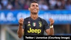Cristiano Ronaldo lors du match entre sa nouvelle équipe, la Juventus Turin, contre Chievo à Vérone, Italie, 18 août 2018. (Twitter/Juventus)