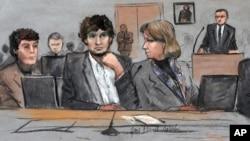지난 3월 보스턴 마라톤 테러 재판이 열리고 있는 법원 스케치. (자료사진)