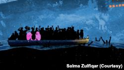 Desenho de arte que é parte do project Art Connects de Salma Zulfiqar