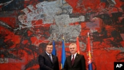 Predsednici Ukrajine i Srbije, Viktor Janukovič i Tomislav Nikolić, tokom samita u Beogradu, 6. jun 2013.