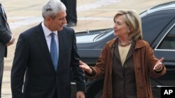 U.S. Secretary of State Hillary Clinton with Serbian President Boris Tadic.
