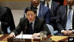 지난달 22일 미국 뉴욕 유엔본부에서 열린 안보리 회의에서 새 대북제재 결의 2397호가 채택된 후 우하이타오 유엔주재 중국 차석대사가 발언하고 있다.