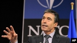 NATO Secretary General Anders Fogh Rasmussen gives a joint press on the eve of the meeting Foreign Affairs NATO Council, 2 Dec 2009