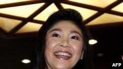 Thủ tướng đắc cử của Thái Lan Yingluck Shinawatra phát biểu tại trụ sở của của đảng Puea Thai ở Bangkok, ngày 19/7/2011