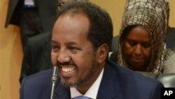 하산 쉐이크 모하무드 소말리아 대통령이 지난 8월 우간다 캄팔라에서 열린 국제 회의에 참석했다.
