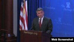 코리 가드너 미 공화당 상원의원이 8일 워싱턴의 헤리티지 재단에서 열린 토론회에서 기조연설을 하고 있다.