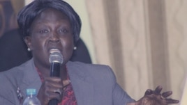 Jehan Deng, Minister of Health and the Environment for Jonglei state, shown here at the Voice of America town hall in Juba in March 2013, has called on striking hospital workers in Bor to return to work for the sake of patients.