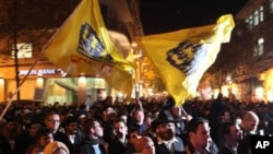 Israeli right-wing activists protest in Jerusalem in support of the rabbis' letter forbidding Jews from selling or renting property to non-Jews as well as to hail settlement activity in the occupied West Bank and East Jerusalem, 23 Dec 2010
