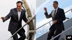 미국 대통령 선거를 앞두고 경합주에서 치열한 유세 대결을 벌이고 있는 미트 롬니 공화당 후보(왼쪽)와 바락 오바마 대통령.