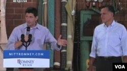 Paul Ryan (a esquerda) Mitt Romney (a direita) os dois candidatos as eleições presideniciais do Partido Republicano