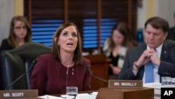 During a hearing by the Senate Armed Services Subcommittee on Personnel about prevention and response to sexual assault in the military, Sen. Martha McSally, R-Ariz., recounts her own experience with sexual assault while serving as a colonel in the Air Fo
