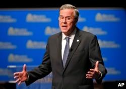 Republican presidential candidate Jeb Bush speaks during a Presidential candidate forum at Regent University in Virginia Beach, Va, Oct, 23, 2015.