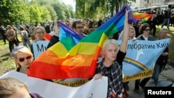 Gay rights activists march in Kyiv May 25, 2013.