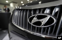 FILE - The grill of a car made by Hyundai, South Korea's largest automaker.