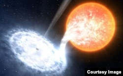 An artist's impression of a black hole, similar to V404 Cyg, taking material from an orbiting companion star.