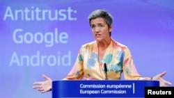 Komesarka Evropske unije za konkurentnost Margrete Vestager na konferenciji za novinare u Briselu (Foto: Reuters/Yves Herman)