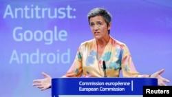 European Competition Commissioner Margrethe Vestager addresses a news conference on Google in Brussels, Belgium, July 18, 2018.