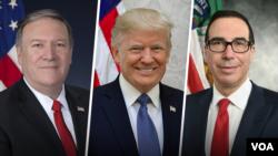 پرزیدنت ترامپ، استیو منوشن وزیر خزانه داری و مایک پمپئو وزیر خارجه آمریکا
