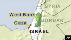 Map of Gaza, West Bank and Israel