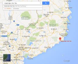 Vị trí của Trung tâm Nhiệt điện Vĩnh Tân trên bản đồ Google Map