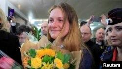 Мария Бутина в московском аэропорту после прибытия из США, 26 октября 2019 года