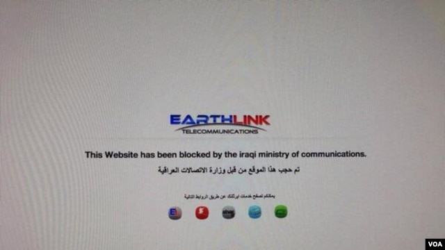 "A screen grab from Twitter user ""Aveen Jaff"" of an Internet block notice on an Iraqi computer (Image via Twitter)"