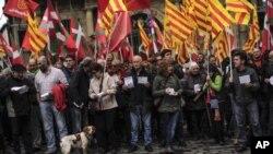 Des supporters de l'indépendance de la Catalogne, le 9 novembre 2015. Source: AP