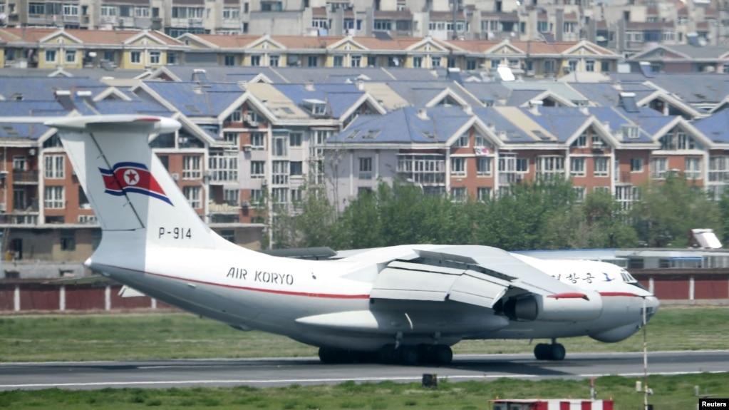 Máy bay của HHK Koryo của Triều Tiên đáp xuống phi trường ở Đại Liên, tỉnh Liêu Ninh, TQ. Ảnh chụp ngày 8/5/2018 bởi Kyodo/via REUTERS