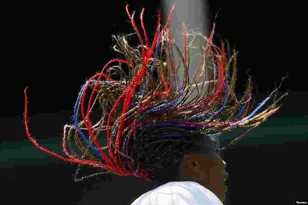 Venus Williams, tenista estadounidense, participa en un entrenamiento en el All England Lawn Tennis Club.