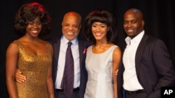 "From left, Aisha Jawondo, Motown Records founder Berry Gordy, Lucy St. Louis and Cedric Neal pose at the launch of ""Motown The Musical"" in central London, Oct. 5, 2015."