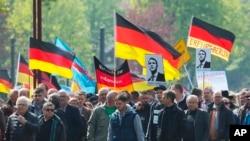 Демонстрація партії «Альтернатива для Німеччини» першого травня у місті Ерфурт