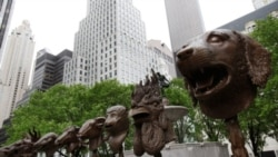 """The outdoor sculpture exhibition """"Circle of Animals/Zodiac Heads"""" by Ai Weiwei at Manhattan's Grand Army Plaza"""